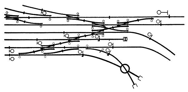 Fig. 15 - Voorbeeld van de verdeling van de geïsoleerde secties op een gedeelte van een emplacement. De isolerende lassen zijn door korte dwars-streepjes aangegeven.