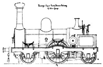 Fig. 10 - (Boven staande afbeelding) N.R.S. loc. serie 37- 42 (kleine snellopers) tekening Sharp, Stewart & Co.)