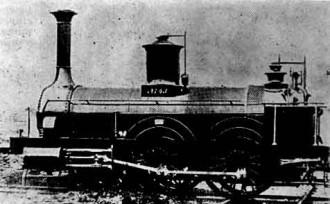 Afb. 12 - N.R.S. goederenloc. nr. 43 serie 43-48, foto Henschel 1857. Reproductie L. Derens.