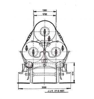 gaswagen technische tekening 3 ketels kopaanzicht
